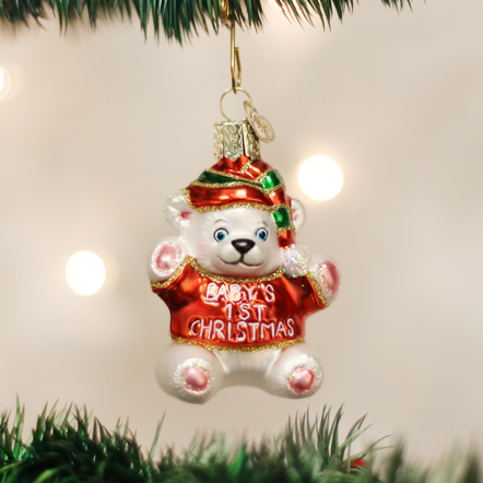Baby's first Christmas teddy bear ornament