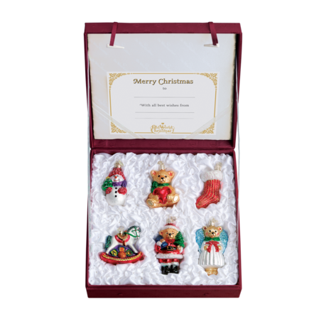 Ornament box featuring 6 baby's first Christmas ornaments
