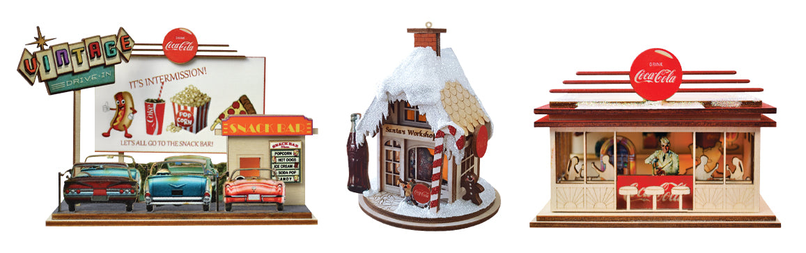 Drive in Movie, Santa's Workshop and Diner Coke Themed Christmas Ornaments