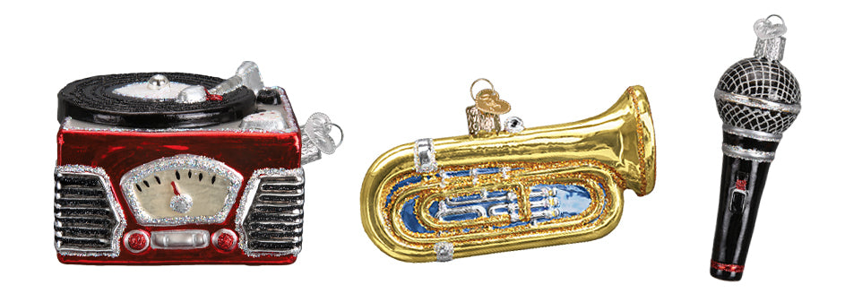 Record Player, Trombone and Microphone Ornament