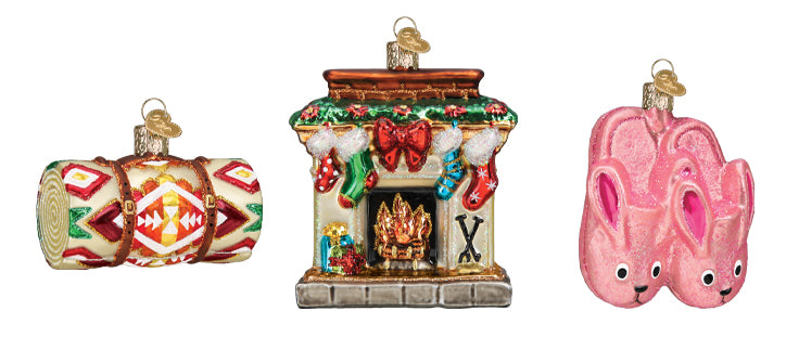 Blanket, Fire Place and Bunny Slippers Ornament