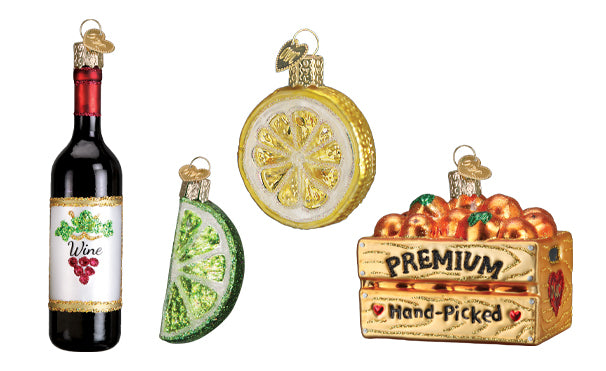 Wine, Lime, Lemon and Apples Ornaments