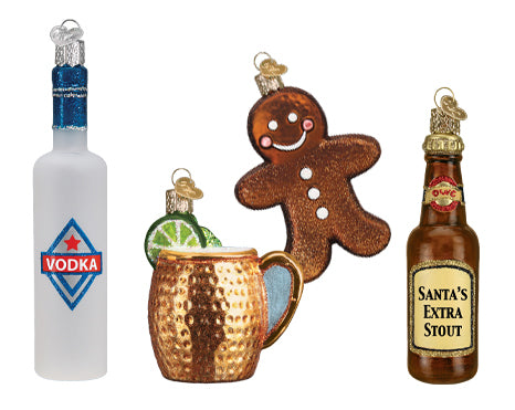 Vodka, Gingerbread Man, Moscow Mule, and Stout Ornaments