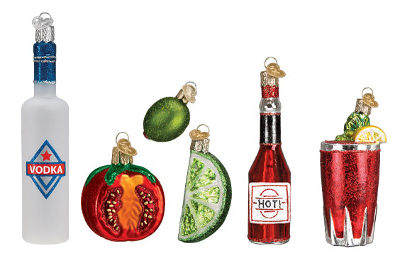 Vodka, Tomato, Lime, Hot Sauce and Bloody Mary Ornaments