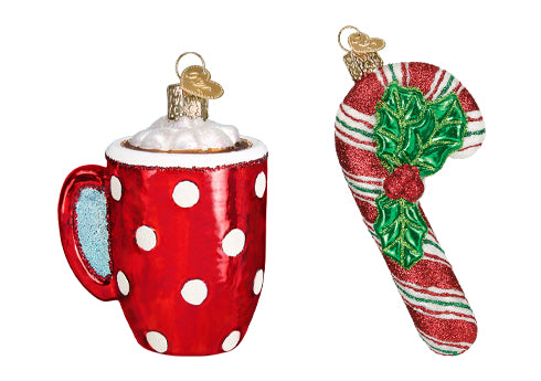 Hot Chocolate and Candy Cane Christmas Ornaments
