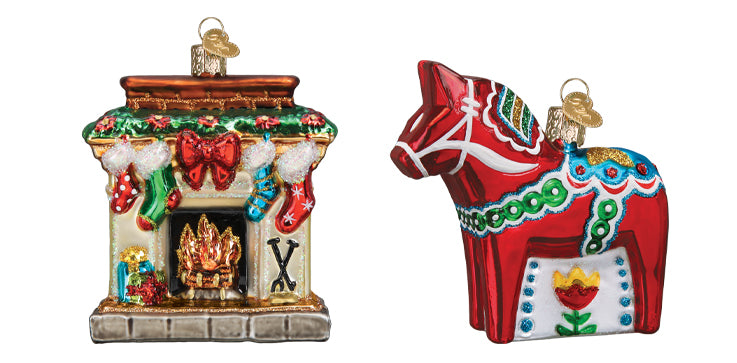 Fireplace and Dala Horse Ornament