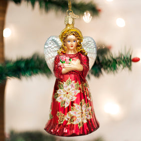 Red Poinsettia Angel Ornament