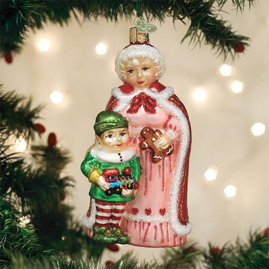 Mrs Claus With Elf Ornament