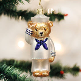 Navy Bear Ornament