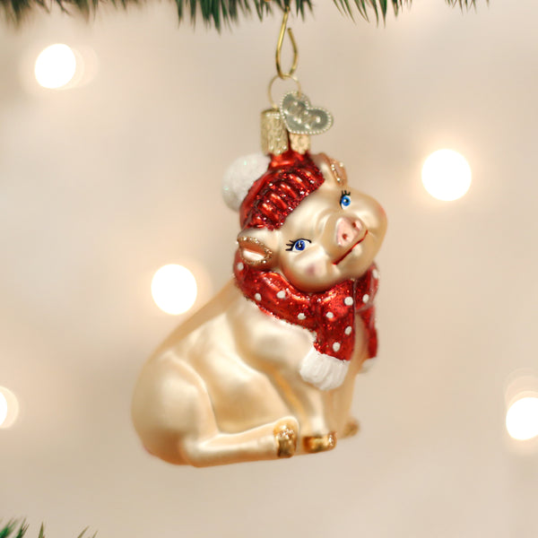 Snowy Pig Ornament