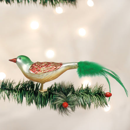 """NEW SILVER GLASS CROWNED BIRD CHRISTMAS TREE CLIP ORNAMENT 7"""""""