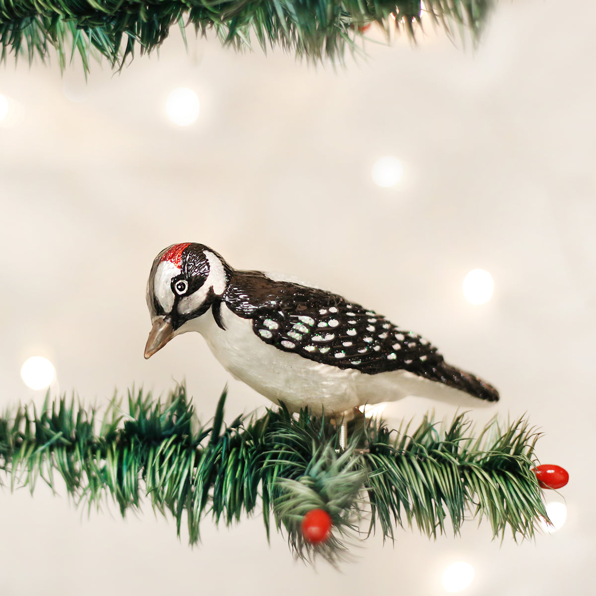 Clip On Hairy Woodpecker Ornament Old World Christmas