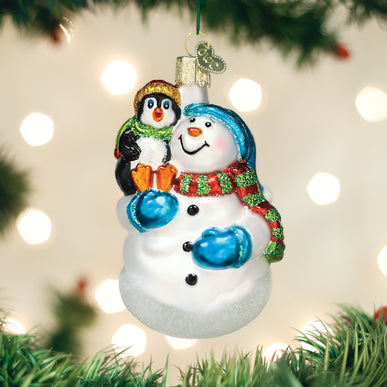 Snowman With Penguin Pal Ornament