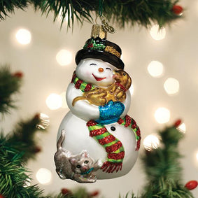 Snowman With Playful Pets Ornament
