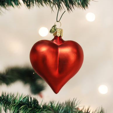 Large Matte Red Heart Ornament