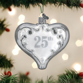 25th Anniversary Heart Ornament