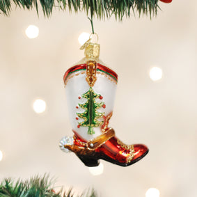 Christmas Cowboy Boot Ornament