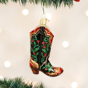 Holly Berry Cowboy Boot Ornament