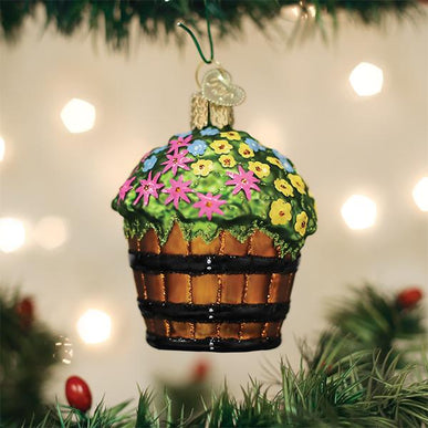 Whiskey Barrel With Flowers Ornament
