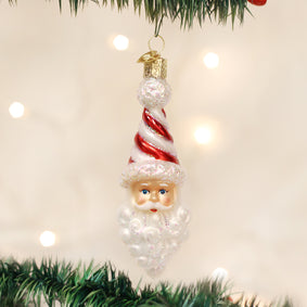 Peppermint Twist Santa Ornament