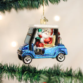 Golf Cart Santa Ornament