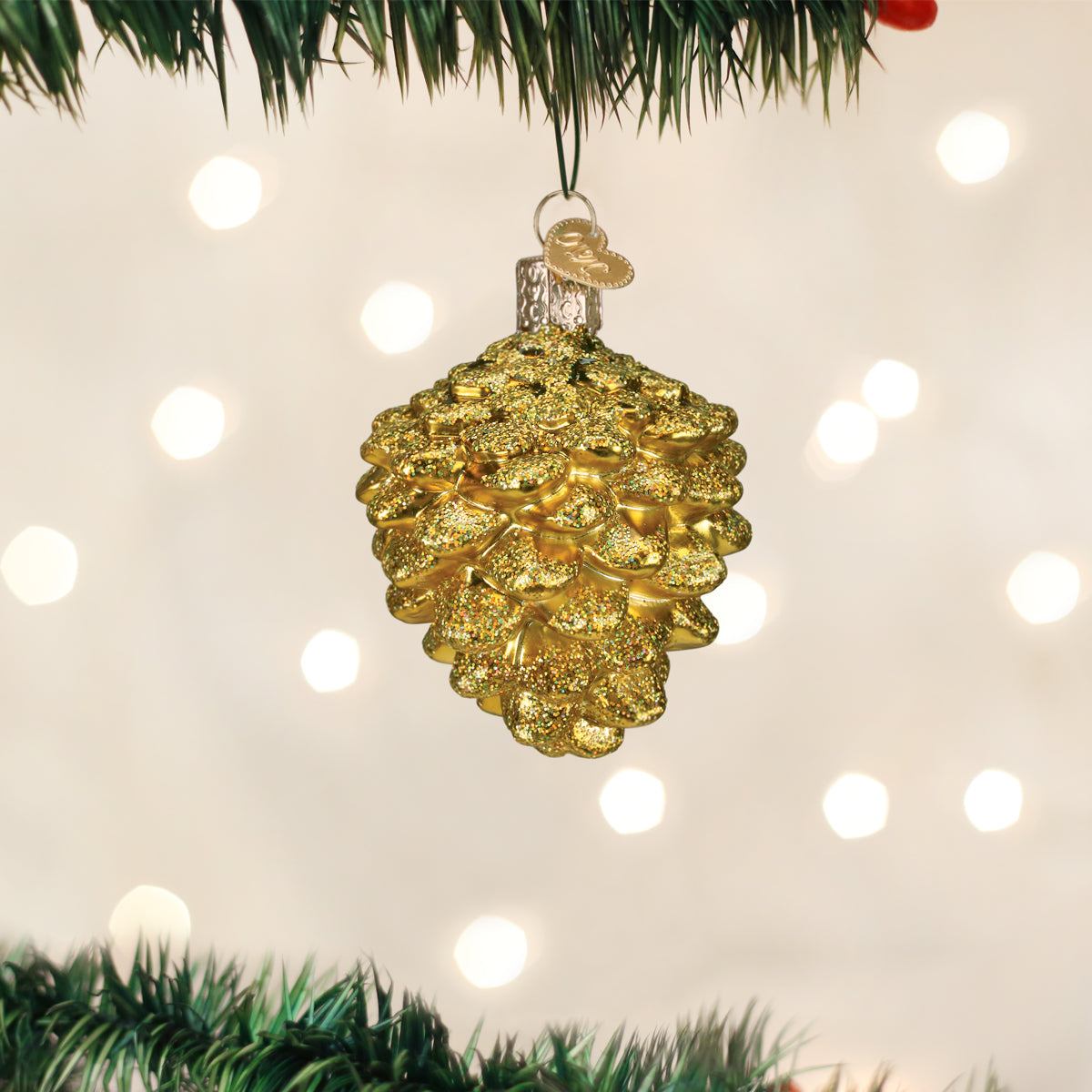 Small Gold Pine Cone Ornament Old World Christmas
