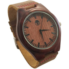 Men's Wood Watch, Natural Bamboo and Dark Red Sandalwood with Quartz Movement, Genuine Leather Strap and Gift Box