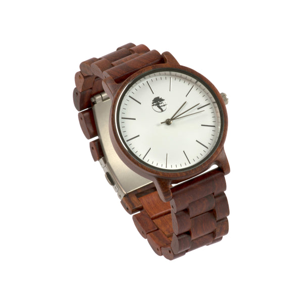 Women's Wood Watch, Natural Red Sandalwood, White Bamboo Face with Real Wooden Band and Gift Box