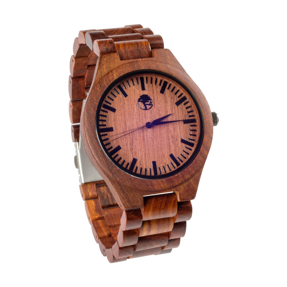 Men's Wood Watch, Natural Bamboo and Red Sandalwood with Quartz Movement, Genuine Wood Band and Gift Box