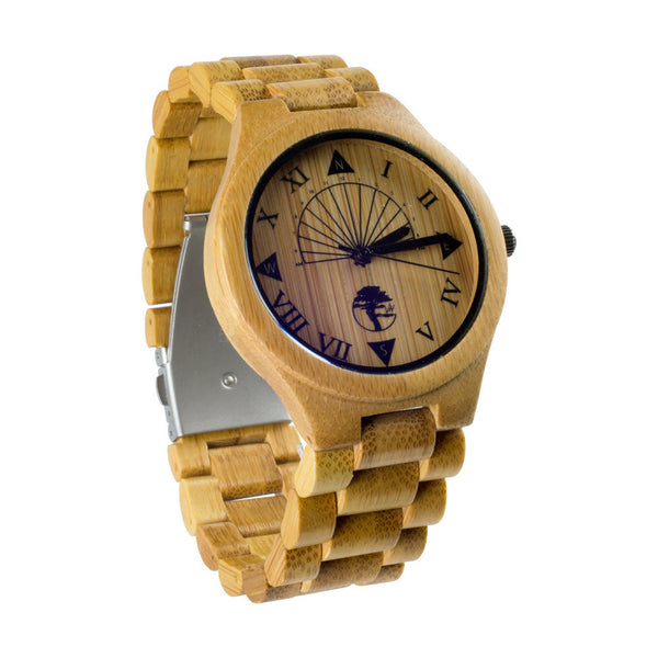 Men's Bamboo Wood Watch, Unique Sundial Design, Genuine Wood Band and Gift Box