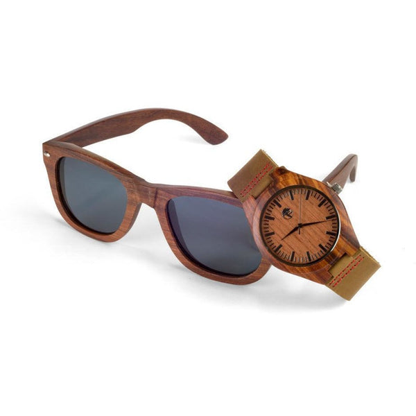 Men's Wood Watch and Sunglasses Set, Natural Bamboo and Red Sandalwood with Gift Box