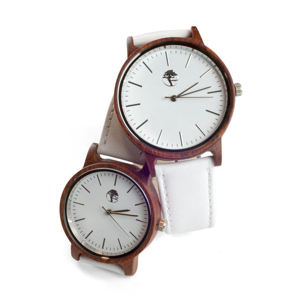 Couple's White Sandalwood Watch Set - His and Her's Set with Individual Gift Boxes