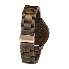 Real Walnut Wood Watch, Rose Gold Face and Solid Wood Band with Gift Box