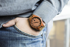 Men's Wood Watch, Natural Bamboo and Red Sandalwood with Quartz Movement, Genuine Leather Strap and Gift Box