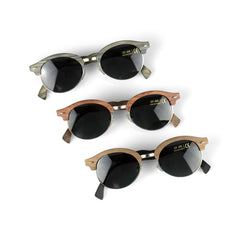Women's Grey Bamboo Wood Sunglasses, Designer Frames with Polarized Lenses and Gift Box