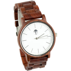 Men's Wood Watch, Natural Red Sandalwood, White Bamboo Face with Real Wooden Band and Gift Box