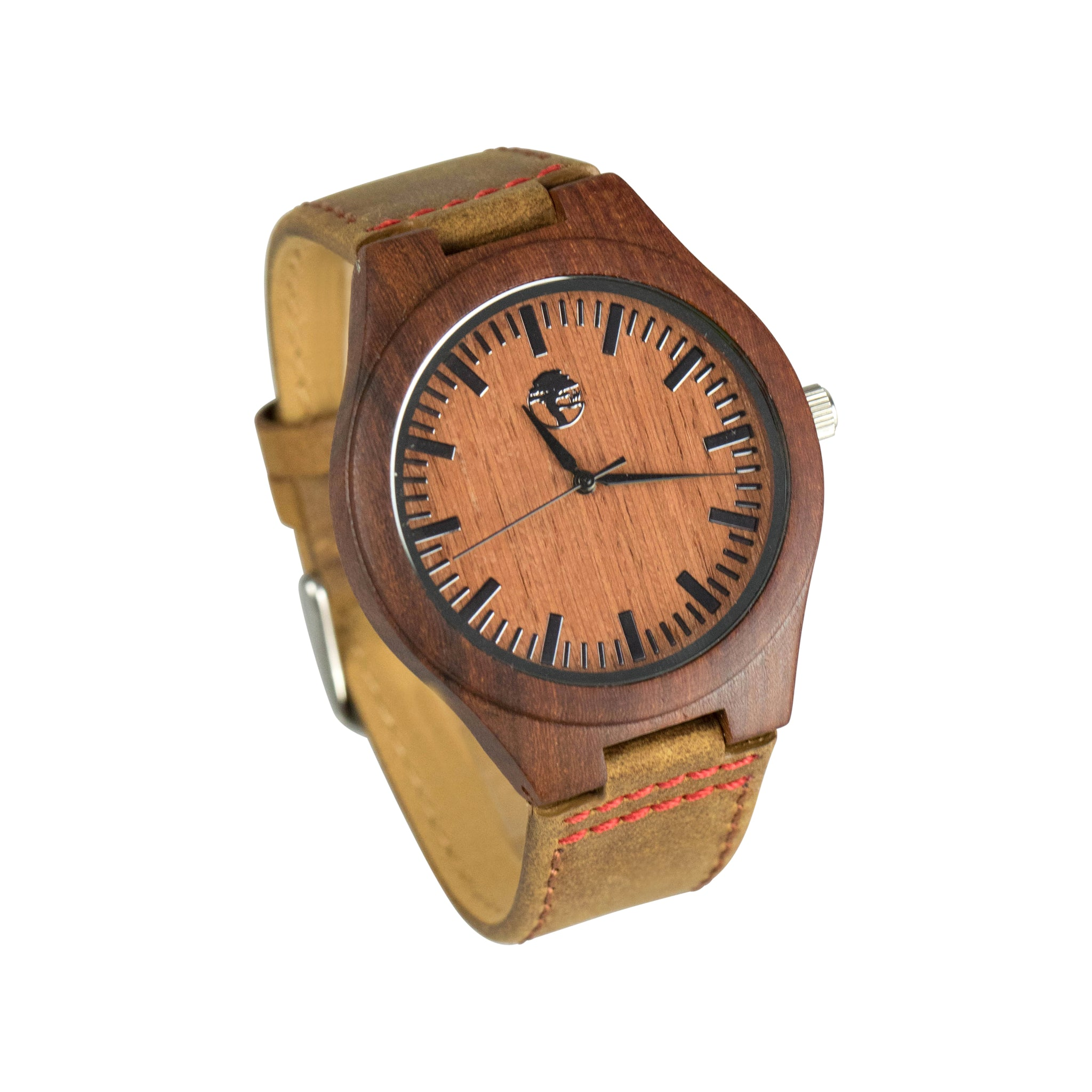 Men's Wood Watch, Natural Bamboo and Red Sandalwood with Quartz Movement, Genuine Rugged Leather Strap and Gift Box
