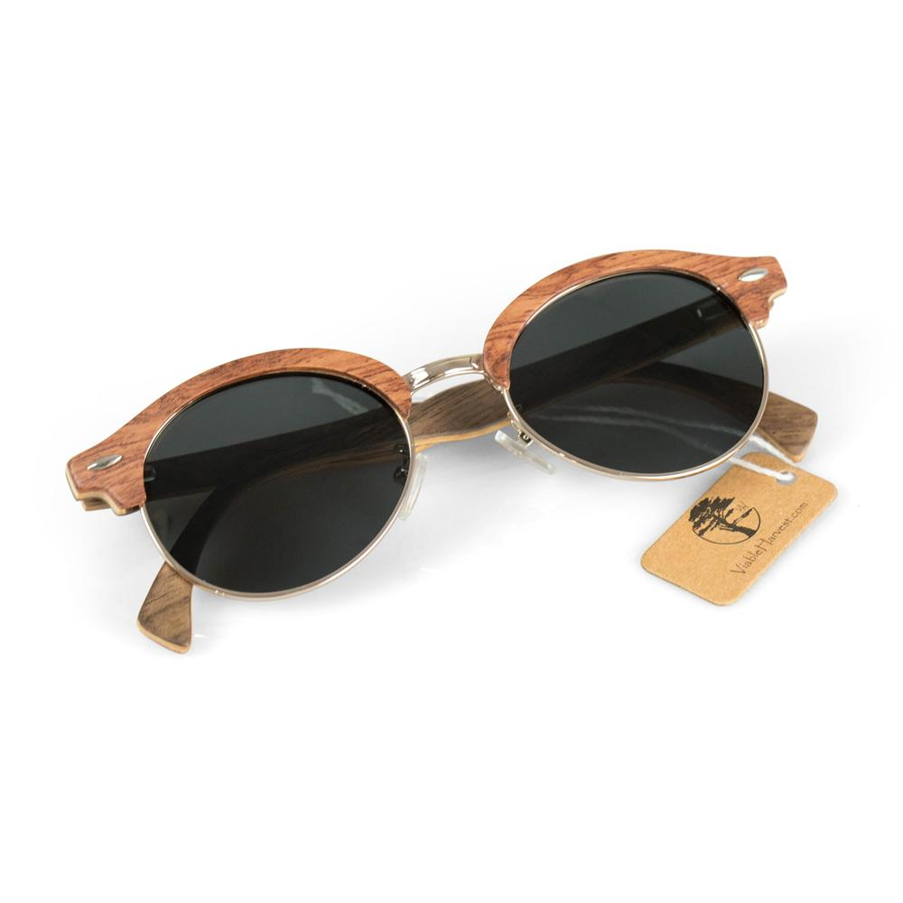 Women's Rosewood Wood Sunglasses, Designer Frames with Polarized Lenses and Gift Box