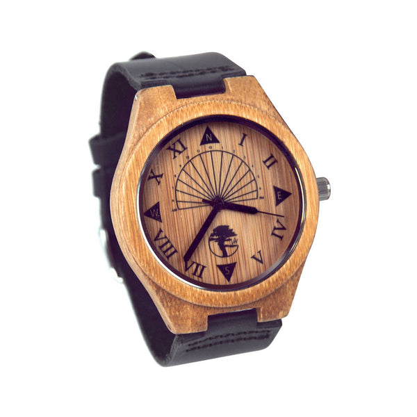 Men's Bamboo Wood Watch, Unique Sundial Design, Genuine Black Leather Band and Gift Box