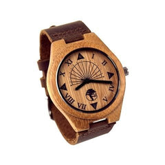 Men's Bamboo Wood Watch, Unique Sundial Design, Genuine Brown Leather Band and Gift Box