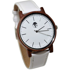 Men's Wood Watch, Natural Red Sandalwood with Genuine White Leather Strap and Gift Box