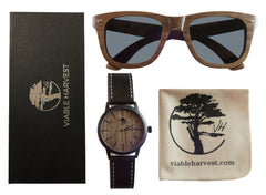 Men's Walnut Wood Watch and Sunglasses Set, Natural Walnut Waterproof Watch with Gift Box