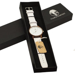 Women's Wood Watch, Natural Red Sandalwood with Genuine White Leather Strap and Gift Box