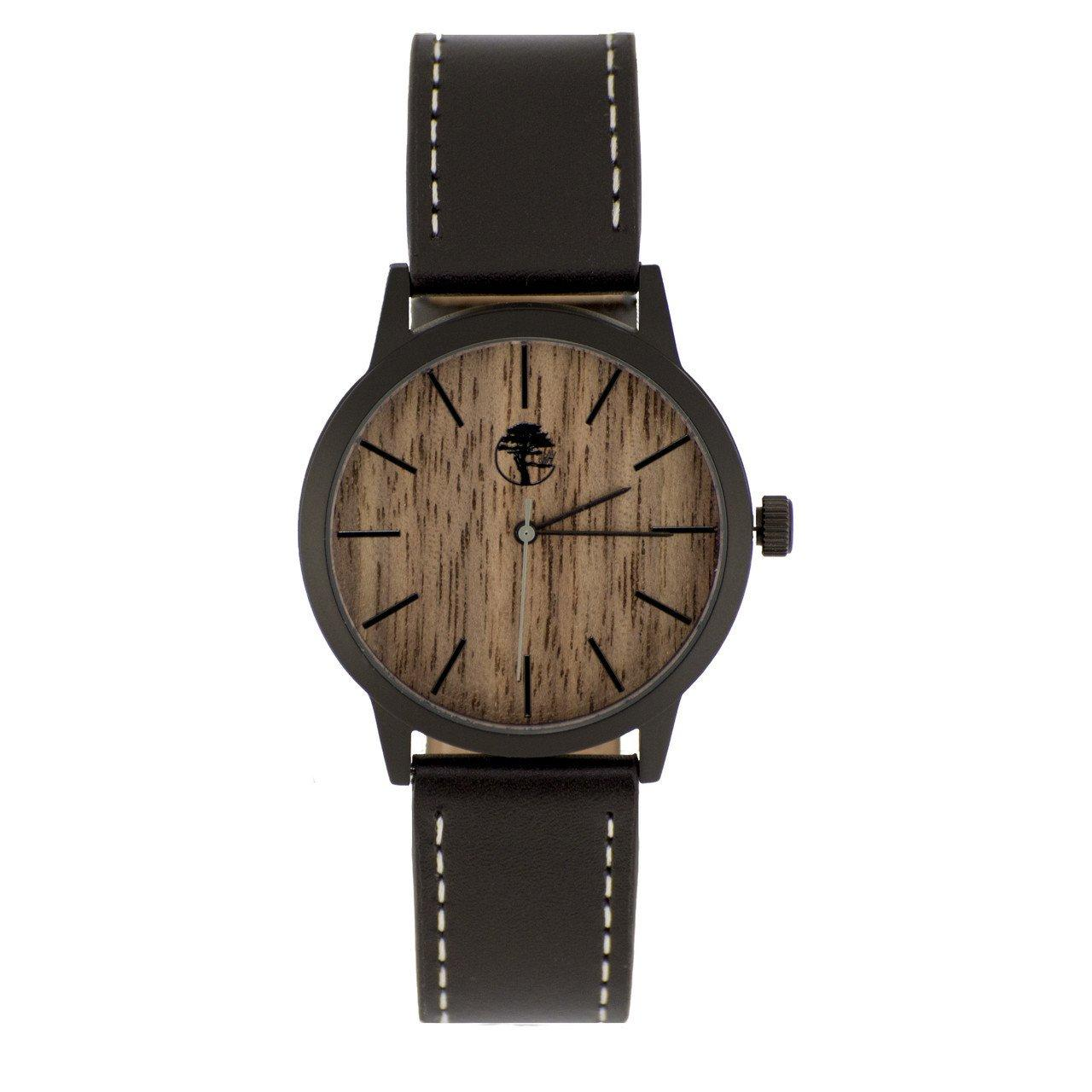 Men's Waterproof Walnut Wood Watch, Black Steel Case, Quartz Movement, Genuine Leather Strap and Gift Box