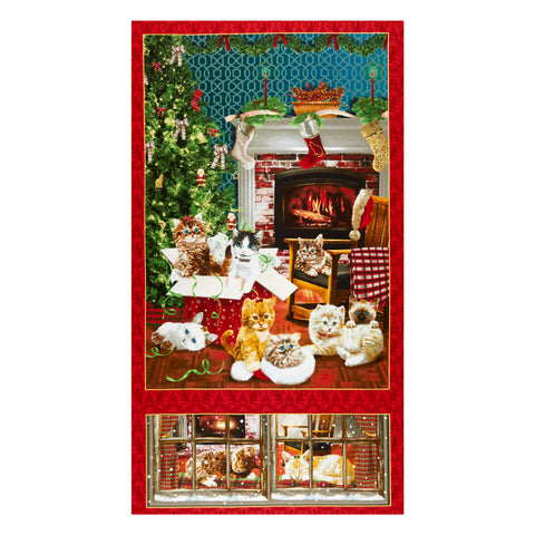 "Fire Side Kittens panel - 9055P-88 - 24""(61cm)"