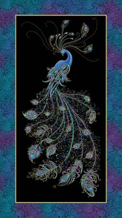 "Peacock Flourish panel - Black Multi - 10224M-12 - 24""(61cm)"