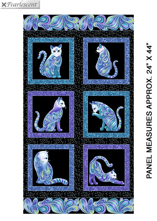 "Catitude Singing The Blues panel - Black Multi Pearl - 10260P-12 - 24""(61cm)"