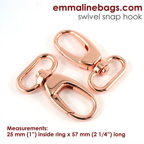 "Swivel Snap Hooks: Designer Profile - 1"" - Copper Finish - 2 pack"