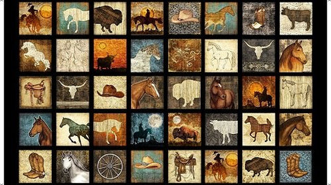 "Unbridled panel - Western Block Picture Patches - 24690-E - 24""(60cm)"