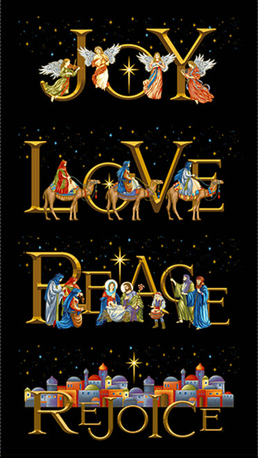 "Silent Night - Joy Peace Panel - Midnight - 2505PM-77 - 23.5""(60cm)"